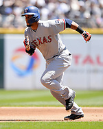 CHICAGO - JULY 02:  Carlos Gomez #14 of the Texas Rangers runs the bases against the Chicago White Sox on July 2, 2017 at Guaranteed Rate Field in Chicago, Illinois.  The White Sox defeated the Rangers 6-5.  (Photo by Ron Vesely) Subject:   Carlos Gomez