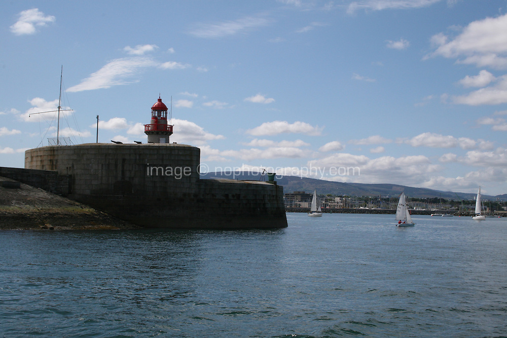 Lighthouse on Dun Laoghaire pier in Dublin Ireland