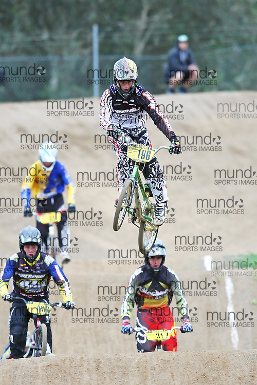 (Canberra, Australia---03 March 2012) Peter Little of Queensland competing in stage 5 of the BMX Australia Boys 16 Champbix series at the Melba BMX Track in Canberra, Australia. Photograph 2012 Copyright Sean Burges / Mundo Sport Images. For reproduction rights and information in Australia, contact seanburges@yahoo.com. For information elsewhere contact info@mundosportimages.com.