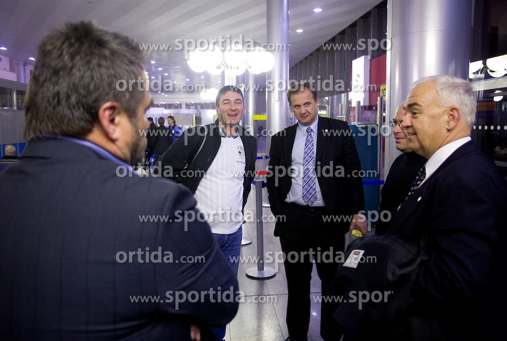 Ivan Simic and Franc Kopatin at airport Shermetjevo in Moscow after the FIFA World Cup South Africa 2010 Qualifying play-off match between Russia and Slovenia, on November 14, 2009, in Moscow, Slovenia.   (Photo by Vid Ponikvar / Sportida)