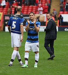 Doncaster Rovers' Dean Furman claps the fans at the end of the abandoned game  - Photo mandatory by-line: Robin White/JMP - Tel: Mobile: 07966 386802 24/08/2013 - SPORT - FOOTBALL - The Valley - Charlton -  Charlton Athletic V Doncaster Rovers - Sky Bet League Two
