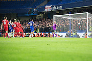 Chelsea's Branislav Ivanovic scores during the Capital One Cup match between Chelsea and Liverpool at Stamford Bridge, London, England on 27 January 2015. Photo by Sam Shaw.