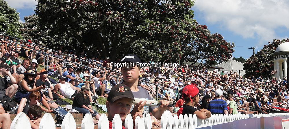 Some young fans during a Twenty20 Cricket match - HRV Cup, Wellington Firebirds v Auckland Acess, 28 December 2011, Hawkins Basin Reserve, Wellington. . PHOTO: Grant Down / photosport.co.nz