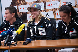 Janja Garnbret 3 time world champion with Mia Krampl and Gorazd Hren during PZS press conference after IFSC Climbing World Championships in Hachioji (JPN) 2019, on August 23, 2019 at Ministry of Education, Science and Sport, Ljubljana, Slovenia. Photo by Grega Valancic / Sportida