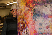 Painter Antonio Ochoa at his studio in Ciudad Juarez, Mexico...LA FRONTERA: Artists along the US Mexican Border.© Stefan Falke.http://www.stefanfalke.com/