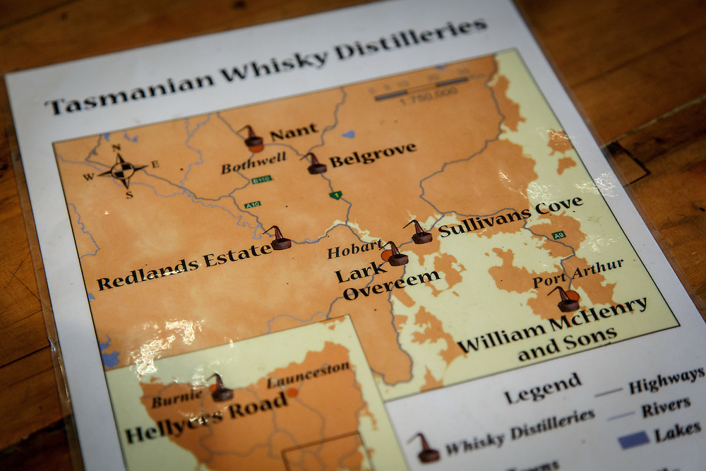 A map of Tasmanian distilleries located in the southern part of the island at Redlands Estate Distillery in Plenty, Tasmania, August 25, 2015. Gary He/DRAMBOX MEDIA LIBRARY