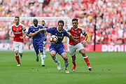 Chelsea's César Azpilicueta(28) holds off the challenge of Arsenal's Alexis Sánchez(7) during the The FA Cup final match between Arsenal and Chelsea at Wembley Stadium, London, England on 27 May 2017. Photo by Shane Healey.