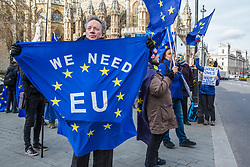 London, UK. 12th February, 2019. An anti-Brexit activist holds a European Union flag at a SODEM (Stand of Defiance European Movement) protest outside Parliament.