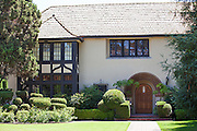 Stock Photo of an English Tudor Style Home in Floral Park of Santa Ana California