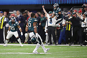 Philadelphia Eagles defensive end Brandon Graham (55) celebrates after a key fourth quarter play resulting in a strip sack and fumble that turns the ball over to the Eagles during the 2018 NFL Super Bowl LII football game against the New England Patriots on Sunday, Feb. 4, 2018 in Minneapolis. The Eagles won the game 41-33. (©Paul Anthony Spinelli)