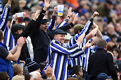 Bath supporters in the crowd celebrate - Mandatory byline: Patrick Khachfe/JMP - 07966 386802 - 16/11/2019 - RUGBY UNION - The Recreation Ground - Bath, England - Bath Rugby v Ulster Rugby - Heineken Champions Cup