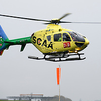 FREE TO USE PHOTOGRAPH....30.10.15<br /> Scotland's Charity Air Ambulance (SCAA) unveiled it's new helicopter at Perth airport this morning a EC135 T2i (pictured) which replaces the Bolkow 105 helicopter which is retiring from service. The new helicopter will increase speed, range, endurance and payload, allow SCAA to fly at night and in cloud. Picture shows the new EC135 T2i flying in.<br /> for further info please contact Maureen Young on 07778 779000<br /> Picture by Graeme Hart.<br /> Copyright Perthshire Picture Agency<br /> Tel: 01738 623350  Mobile: 07990 594431