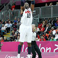 02 August 2012: USA Kobe Bryant takes a three points jumpshot during 156-73 Team USA victory over Team Nigeria, during the men's basketball preliminary, at the Basketball Arena, in London, Great Britain.