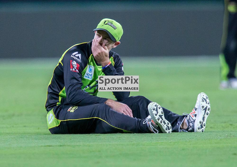 KFC Big Bash League T20 2015-16 , Sydney Thunder v Perth Scorchers, Spotless Stadium; 7 January 2016<br /> Sydney Thunder Ben Rohrer after missing a difficult catch.