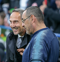 09.05.2019, Stamford Bridge, London, ENG, UEFA EL, FC Chelsea vs Eintracht Frankfurt, Halbfinale, Rückspiel, im Bild Maurizio Sarri Manager of Chelsea and Adi Hütter, Head Coach of Eintracht Frankfurt // Maurizio Sarri Manager of Chelsea and Adi Hütter, Head Coach of Eintracht Frankfurt during the UEFA Europa League semifinal 2nd leg match between FC Chelsea and Eintracht Frankfurt at the Stamford Bridge in London, Great Britain on 2019/05/09. EXPA Pictures © 2019, PhotoCredit: EXPA/ Focus Images/ Steve O'Sullivan<br /> <br /> *****ATTENTION - for AUT, GER, FRA, ITA, SUI, POL, CRO, SLO only*****