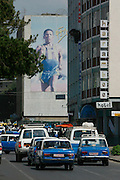 Advertising mural with Haile Gebrselassie, popular Marathon runner and 10.000 m Olympic Winner.