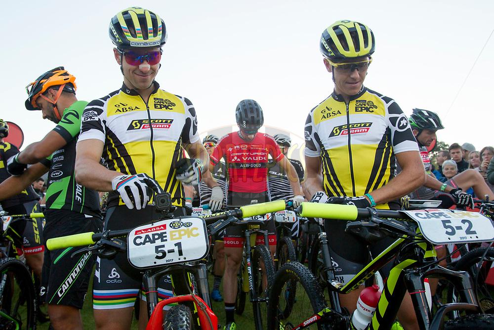 Nino Schurter and Matthias Stirnemann of team SCOTT-SRAM MTB Racing reveal  their yellow jerseys. 46f013d16