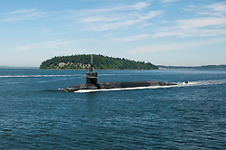 PUGET SOUND, Wash. (May 22, 2017) The Ohio-class ballistic-missile submarine USS Louisiana (SSBN 743) transits the Hood Canal as it returns to its homeport following a strategic deterrent patrol. Louisiana is one of eight ballistic-missile submarines stationed at Naval Base Kitsap-Bangor providing the most survivable leg of the strategic deterrence triad for the United States. (U.S. Navy photo by Lt. Cmdr. Michael Smith/Released)170522-N-UD469-021<br /> Join the conversation:<br /> http://www.navy.mil/viewGallery.asp<br /> http://www.facebook.com/USNavy<br /> http://www.twitter.com/USNavy<br /> http://navylive.dodlive.mil<br /> http://pinterest.com<br /> https://plus.google.com