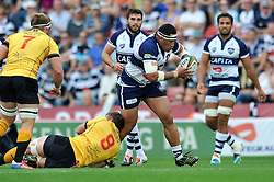 Anthony Perenise of Bristol Rugby takes on the Pirates defence - Photo mandatory by-line: Patrick Khachfe/JMP - Mobile: 07966 386802 21/09/2014 - SPORT - RUGBY UNION - Bristol - Ashton Gate - Bristol Rugby v Cornish Pirates - GK IPA Championship.