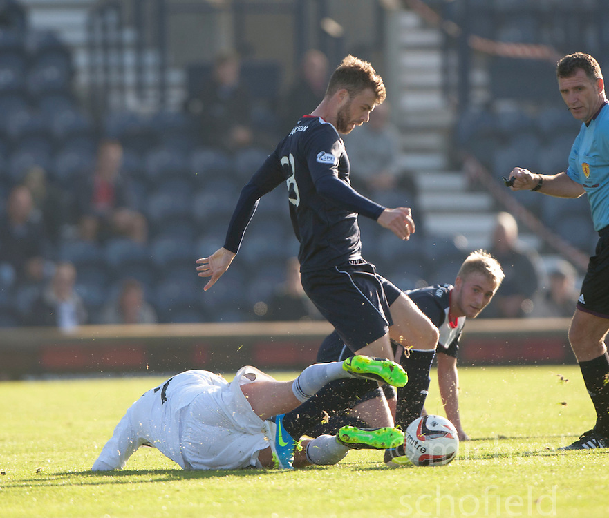 Raith Rovers Joe Cardle and Falkirk's Rory Loy.<br /> Raith Rovers 1 v 1 Falkirk, Scottish Championship 28/9/2013.<br /> &copy;Michael Schofield.
