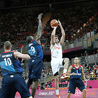 02 August 2012: Spain Rudy Fernandez takes a jumpshot during 79-78 Team Spain victory over Team Great Britain, during the men's basketball preliminary, at the Basketball Arena, in London, Great Britain.