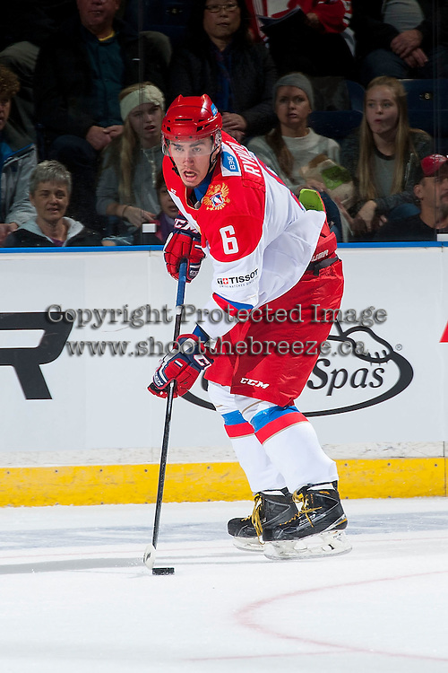 KELOWNA, CANADA - NOVEMBER 9: Egor Rykov # 6 of Team Russia skates with the puck against the Team WHL on November 9, 2015 during game 1 of the Canada Russia Super Series at Prospera Place in Kelowna, British Columbia, Canada.  (Photo by Marissa Baecker/Western Hockey League)  *** Local Caption *** Egor Rykov;