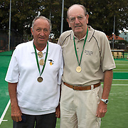 Max Byrne, Australia, (left) and Neville Langford, Australia, Semi Finalists  75 Mens Doubles during the 2009 ITF Super-Seniors World Team and Individual Championships at Perth, Western Australia, between 2-15th November, 2009.