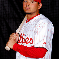February 22, 2011; Clearwater, FL, USA; Philadelphia Phillies shortstop Freddy Galvis (71) poses during photo day at Bright House Networks Field. Mandatory Credit: Derick E. Hingle