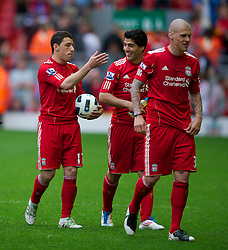 LIVERPOOL, ENGLAND - Saturday, April 23, 2011: Liverpool's hat-trick hero Maximiliano Ruben Maxi Rodriguez leaves the field with the match ball after his side's 5-0 victory over Birmingham City in the Premiership match at Anfield. (Photo by David Rawcliffe/Propaganda)