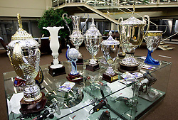 Trophies of Udinese in press center after the football match between Udinese Calcio and Palermo in 8th Round of Italian Seria A league, on October 24, 2010 at Stadium Friuli, Udine, Italy.  Udinese defeated Palermo 2 - 1. (Photo By Vid Ponikvar / Sportida.com)