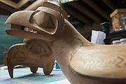Masks created by world-renowned Haida artist Jim Hart in his home/studio in Old Masset, Haida Gwaii.