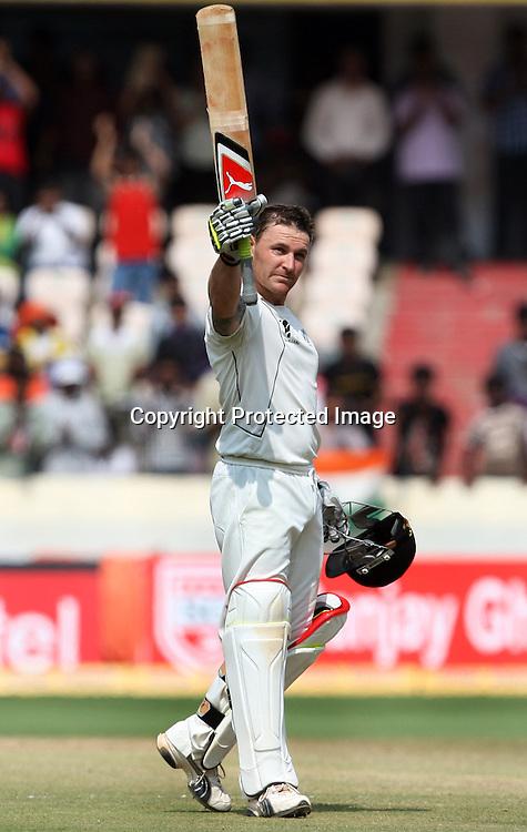 New Zealand batsman Brendon McCullum celebrates after make 1st test double century against India during the Indian vs New Zealand 2nd test match day-5 Played at Rajiv Gandhi International Stadium, Uppal, Hyderabad 16 November 2010 (5-day match)