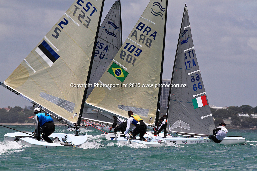 Race 6 Finn Gold Cup Takapuna - Downwind action