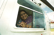 BELLARY,2000.<br /> Sushma Swaraj, a prominent politician in the Bharatiya Janata Party and former Health Minister leaves in a helicopter for her election campaign.<br /> The general elections in India in 1999 saw a direct contest for a parliamentary seat between Indian National Congress President Sonia Gandhi and Sushma Swaraj.