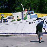 A mosaic of Granma the yacht used by Fidel Castro to invade Cuba with 82 fighters from Mexico. Jose Rodriguez Fuster has decorated his house, studio and town of Jaimanitas with murals and paintings. This world renown artist known was Fuster lives in this small town just west of Havana.<br />