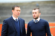 Plymouth Argyle manager Derek Adams and Luton Town manager Nathan Jones talking before the Sky Bet League 2 match between Plymouth Argyle and Luton Town at Home Park, Plymouth, England on 19 March 2016. Photo by Graham Hunt.