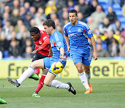 Cardiff City's Wilfred Zaha works his way through the Hull defence but sees his shot saved - Photo mandatory by-line: Joe Meredith/JMP - Tel: Mobile: 07966 386802 22/02/2014 - SPORT - FOOTBALL - Cardiff - Cardiff City Stadium - Cardiff City v Hull City - Barclays Premier League
