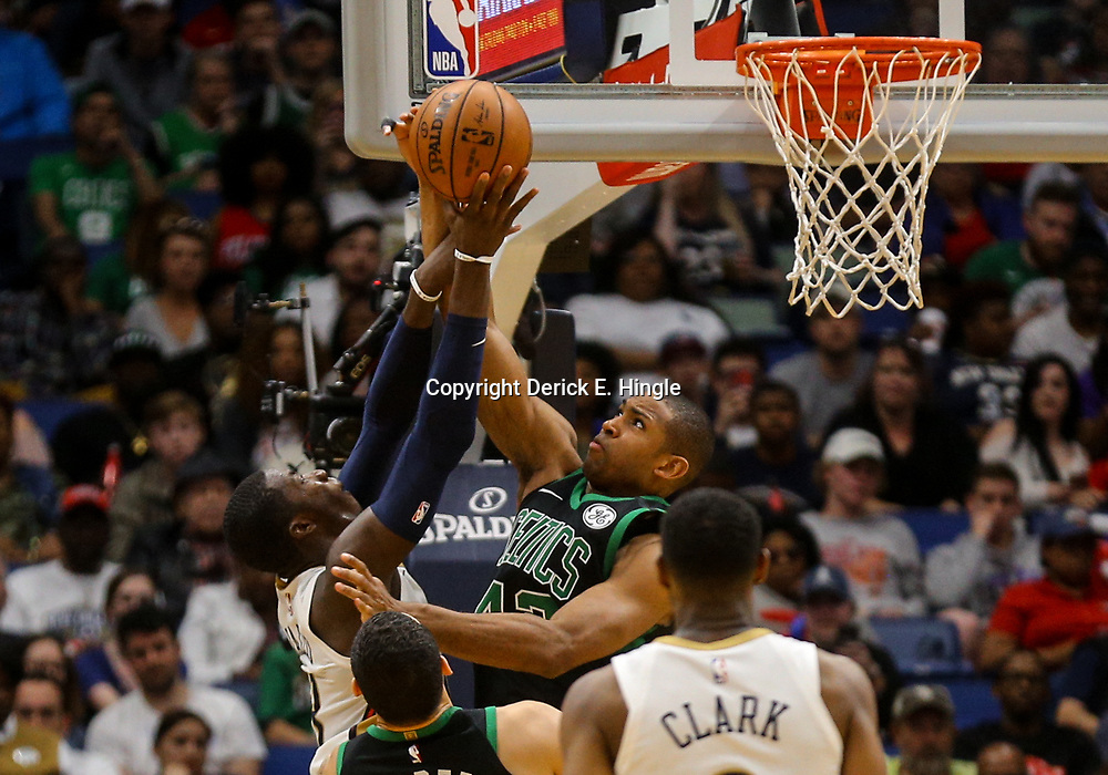Mar 18, 2018; New Orleans, LA, USA; New Orleans Pelicans forward Cheick Diallo (13) has a shot blocked by Boston Celtics forward Al Horford (42) during the second half at the Smoothie King Center. Mandatory Credit: Derick E. Hingle-USA TODAY Sports