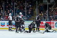 KELOWNA, CANADA - NOVEMBER 11: Braydyn Chizen #22 of the Kelowna Rockets celebrates his first goal of the season during the second period against the Red Deer Rebels on November 11, 2017 at Prospera Place in Kelowna, British Columbia, Canada.  (Photo by Marissa Baecker/Shoot the Breeze)  *** Local Caption ***