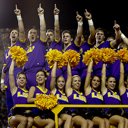 Sep 25, 2010; Baton Rouge, LA, USA; LSU Tigers cheerleaders parade around the stadium prior to a game between the LSU Tigers and the West Virginia Mountaineers at Tiger Stadium.  Mandatory Credit: Derick E. Hingle
