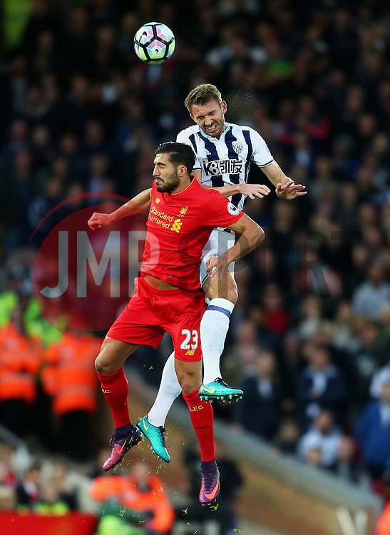 Emre Can of Liverpool challenges Craig Dawson of West Brom - Mandatory by-line: Matt McNulty/JMP - 22/10/2016 - FOOTBALL - Anfield - Liverpool, England - Liverpool v West Bromwich Albion - Premier League