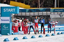ULSET Nils-Erik NOR LW3, ARENDZ Mark CAN LW6, REPTYUKH Ihor UKR LW8, DAVIET Benjamin FRA LW2 competing in the ParaBiathlon, Para Biathlon at  the PyeongChang2018 Winter Paralympic Games, South Korea.