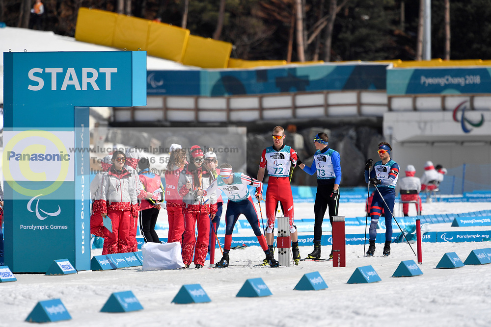 ULSET Nils-Erik NOR LW3, ARENDZ Mark CAN LW6, REPTYUKH Ihor UKR LW8, DAVIET Benjamin FRA LW2 competing in the ParaBiathlon, Para Biathlon at  the PyeongChang2018 Winter Paralympic Games, South Korea.