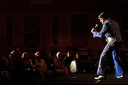 ORLANDO, FL - AUGUST 14:  Celebrity impersonator Charlie Franks of Las Vegas performs during the Sunburst Convention of Celebrity Tribute Artists in Orlando, Florida, August 14, 2009. The annual convention offers the artists an opportunity to perform for agents and other talent buyers. (Photo by Matt Stroshane/Getty Images)