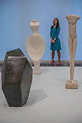 Works in room 4 incl Cube, Spoon Woman, Walking Woman - the UK's first major retrospective of Alberto Giacometti (1901-1966) for 20 years.<br /> Celebrated as a sculptor, painter and draughtsman, he is famous for his distinctive elongated figures. With the help of Fondation Alberto et Annette Giacometti, Paris, Tate Modern's exhibition brings together over 250 works. Alberto Giacometti is at Tate Modern from 10 May to 10 September 2017