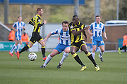 Burton No 10 Lucas Akins, scorer of two goals in the Sky Bet League 1 match between Colchester United and Burton Albion at the Weston Homes Community Stadium, Colchester, England on 23 April 2016. Photo by Nigel Cole.