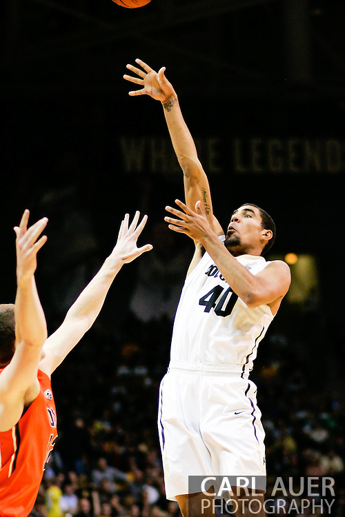 January 2nd, 2014:  Colorado Buffaloes sophomore forward Josh Scott (40) puts up a shot in the second half of action in the NCAA Basketball game between the Oregon State Beavers and the University of Colorado Buffaloes at the Coors Events Center in Boulder, Colorado