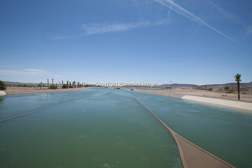 Imperial Resevoir - the Colorado River water is first desilting and than redirection into the All-American Canal and to the Impeial Valley in California and the Gila River and the Yuma Project aqueduct in Arizona.