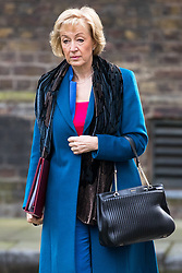 © Licensed to London News Pictures . 29/03/2017 . London , UK . ANDREA LEADSOM arrives . Ministers arriving and leaving for a Cabinet meeting and Prime Minster's Questions , at 10 Downing Street , Westminster . Today (29th March 2017) the British Government will trigger Article 50 of the Lisbon Treaty and commence Britain's withdrawal from the European Union . Photo credit : Joel Goodman/LNP