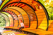 UNITED KINGDOM, London: 16 May 2019 <br /> Mercedes Milgrew, aged 8, enjoys the colours of a tubular walkway in Royal Botanical Gardens Kew new Children's Garden which officially opens on the 18th of May 2019. The impressive and colourful space covers 10,000 square metres and is designed around the elements that plants need to survive.<br /> Rick Findler / Story Picture Agency